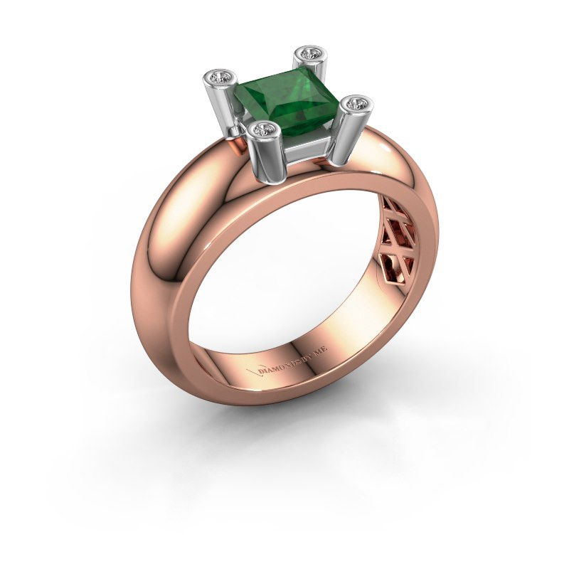 Ring Cornelia Square 585 rose gold emerald 5 mm