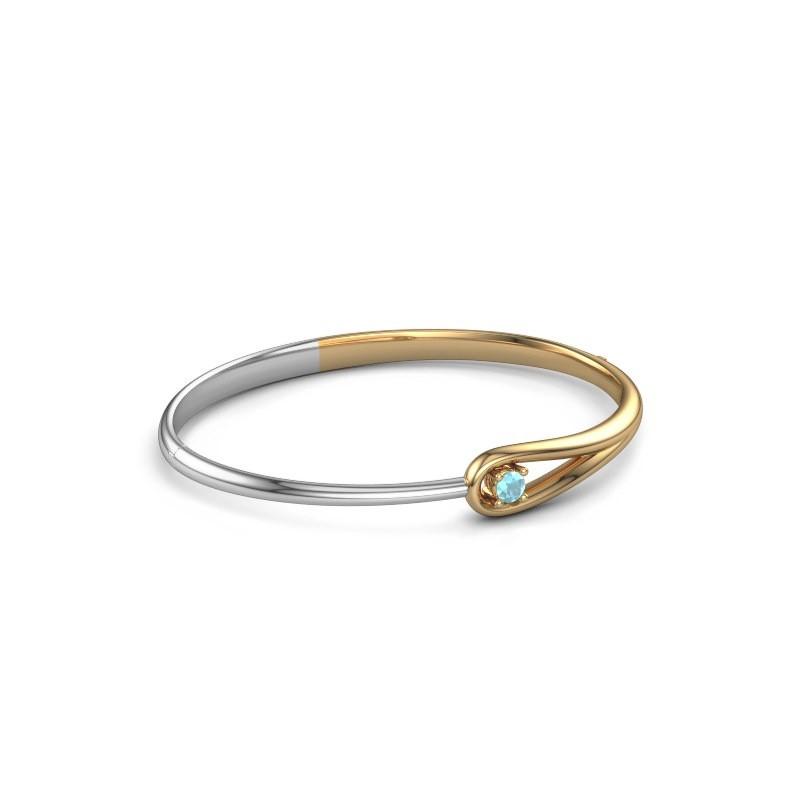 Slavenarmband Zara 585 goud blauw topaas 4 mm