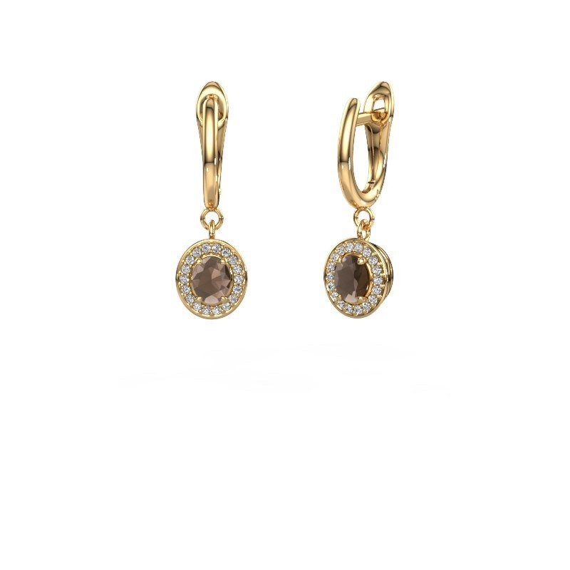 Drop earrings Nakita 375 gold smokey quartz 5x4 mm