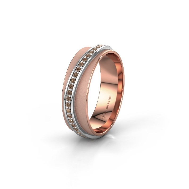Weddings ring WH2126L 585 rose gold brown diamond ±6x1.7 mm