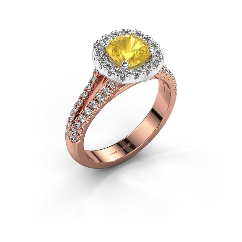 Verlovingsring Francesca 585 rosé goud gele saffier 6 mm