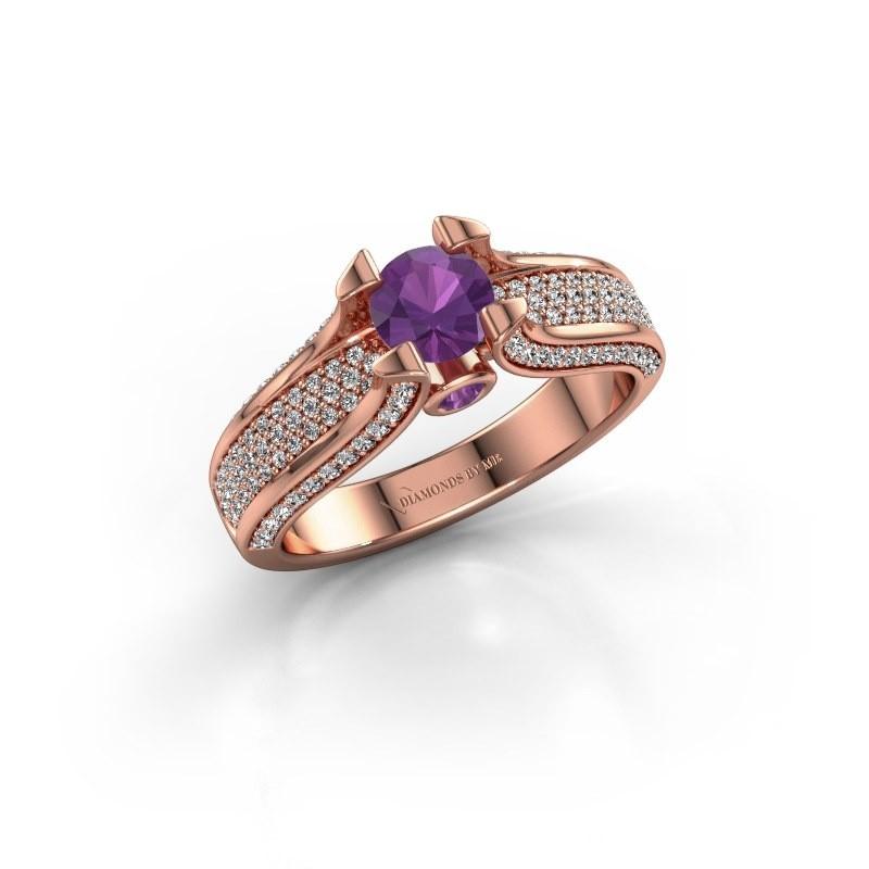 Verlovingsring Jeanne 2 375 rosé goud amethist 5 mm