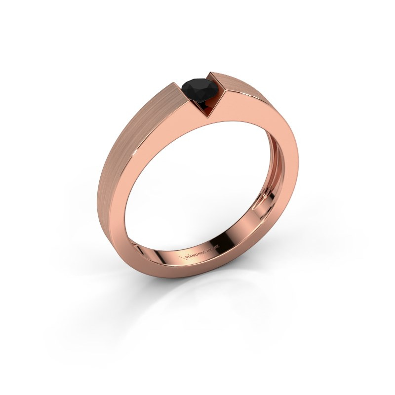 Verlovingsring Lizzy 1 585 rosé goud zwarte diamant 0.24 crt