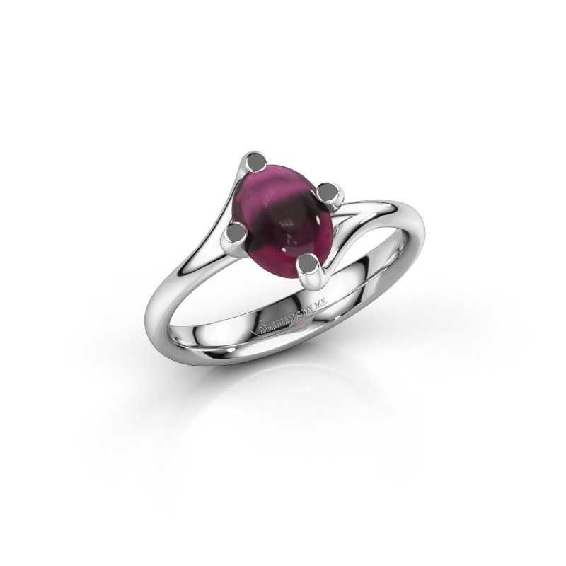 Ring Nora 925 zilver rhodoliet 8x6 mm