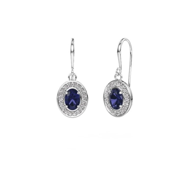 Drop earrings Layne 1 950 platinum sapphire 6.5x4.5 mm