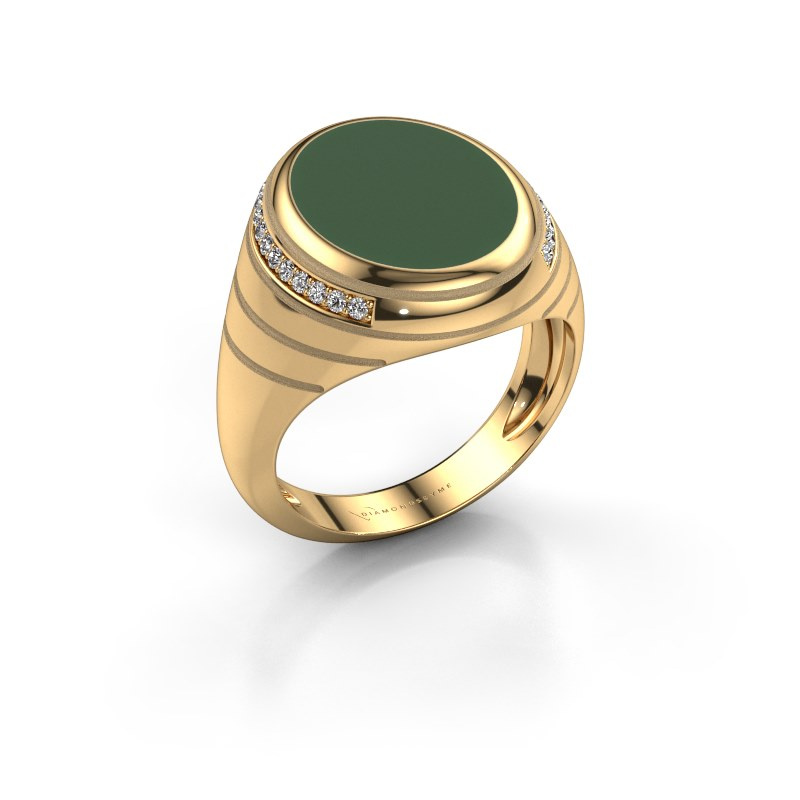 Zegelring Luuk 585 goud groene emaille 15x12 mm