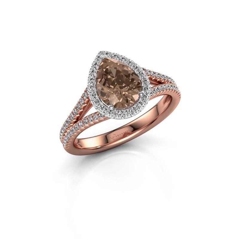 Verlovingsring Verla pear 2 585 rosé goud bruine diamant 1.337 crt