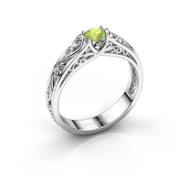 Ring Quinty 950 platina peridoot 4 mm