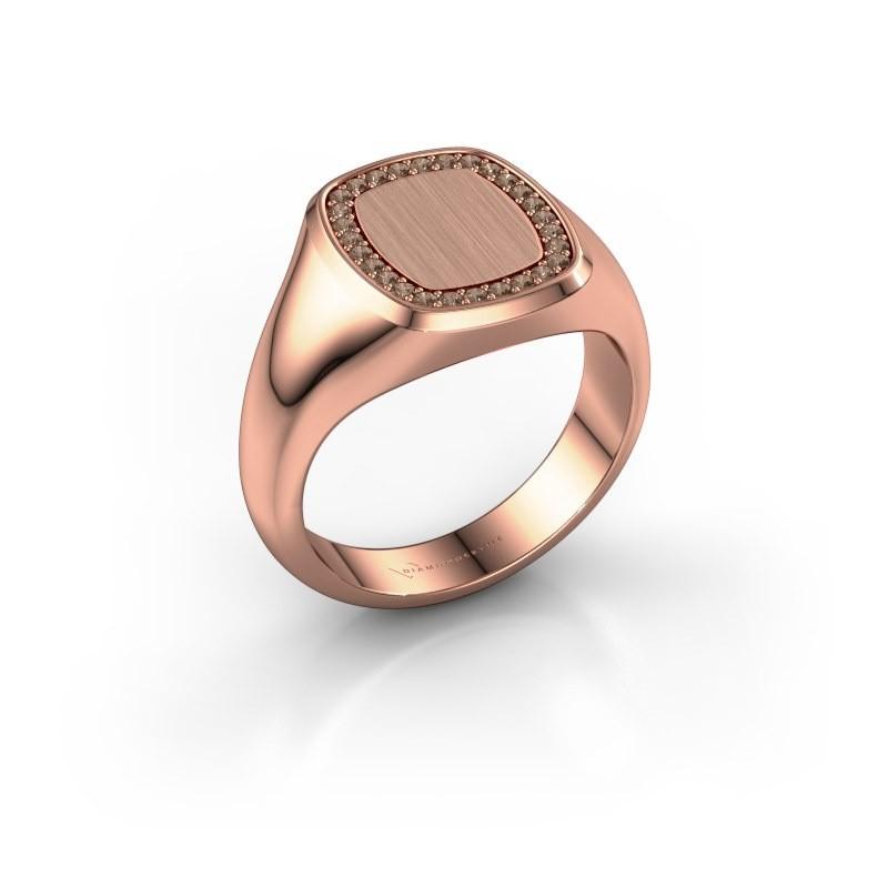 Men's ring Floris Cushion 2 375 rose gold brown diamond 0.21 crt