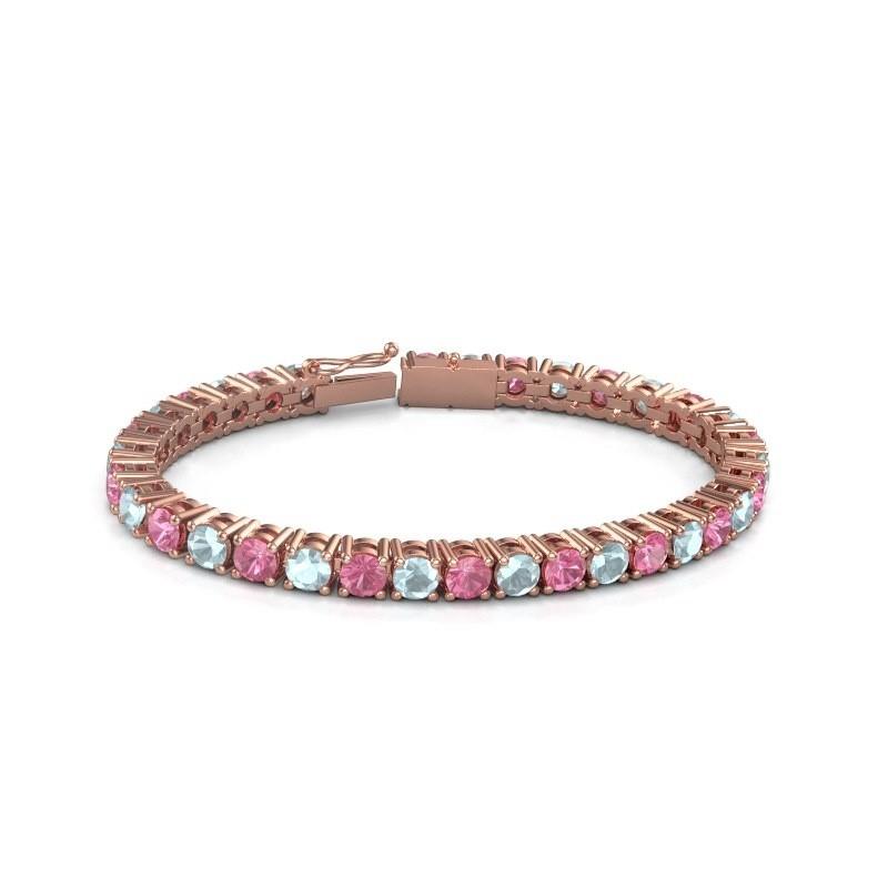 Tennisarmband Ming 375 rosé goud roze saffier 5 mm