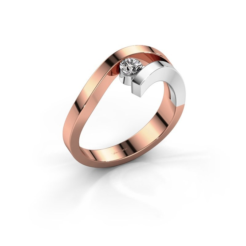 Bague Evalyn 1 585 or rose diamant synthétique 0.20 crt