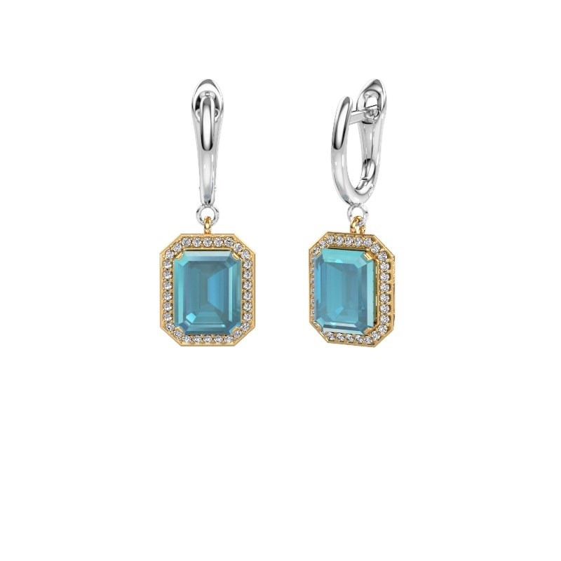 Drop earrings Dodie 1 585 gold blue topaz 9x7 mm