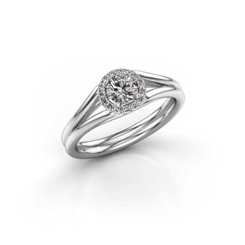 Engagement ring Verla rnd 1 585 white gold diamond 0.394 crt