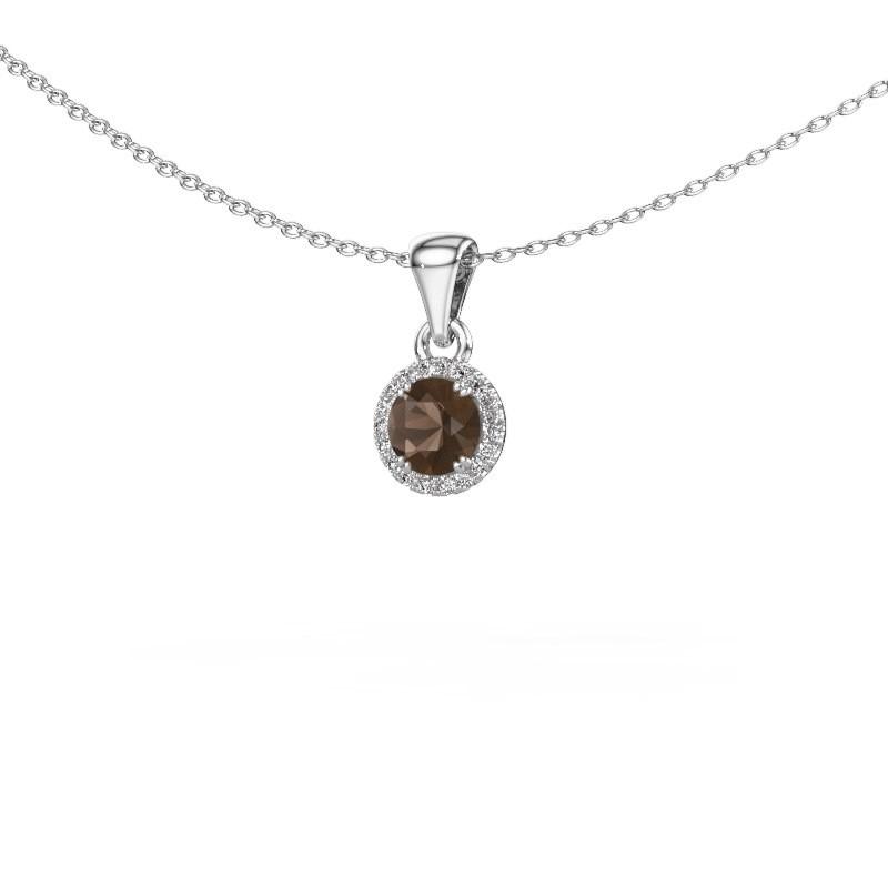 Hanger Seline rnd 925 zilver rookkwarts 4.7 mm