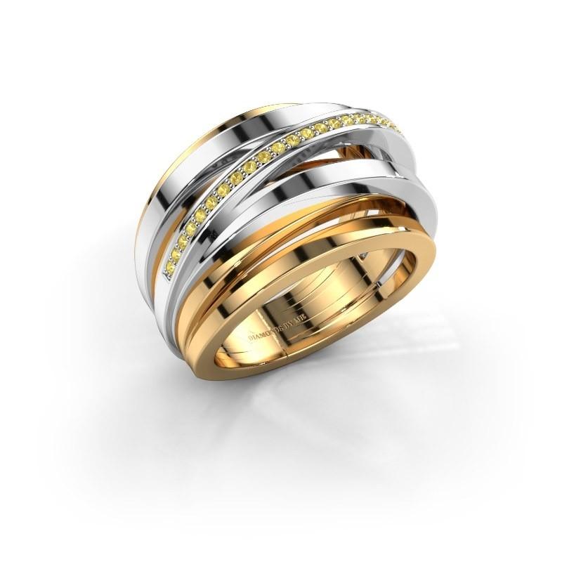 Ring Swinda 585 goud gele saffier 1 mm