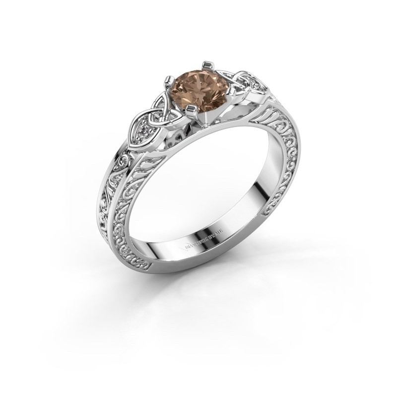 Engagement ring Gillian 925 silver brown diamond 0.52 crt