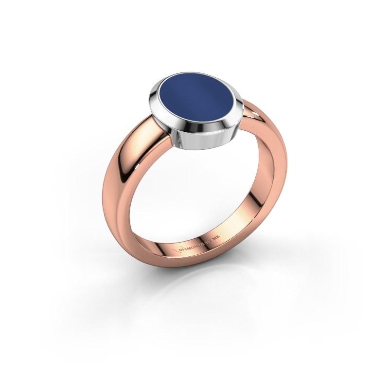 Pinkring Oscar 1 585 rosé goud lapis lazuli 10x8 mm