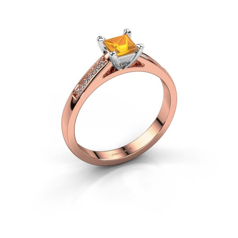 Engagement ring Nynke SQR 585 rose gold citrin 4 mm