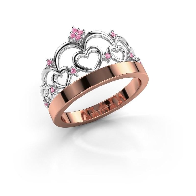Ring Kroon 1 585 rosé goud roze saffier 1 mm
