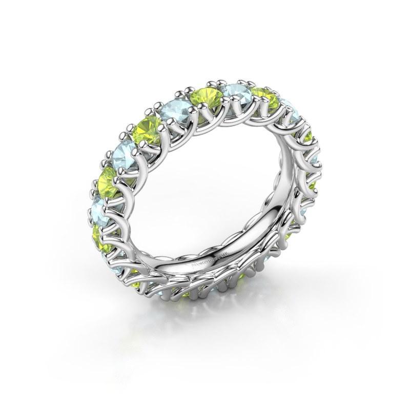 Ring Fenna 585 witgoud peridoot 3 mm