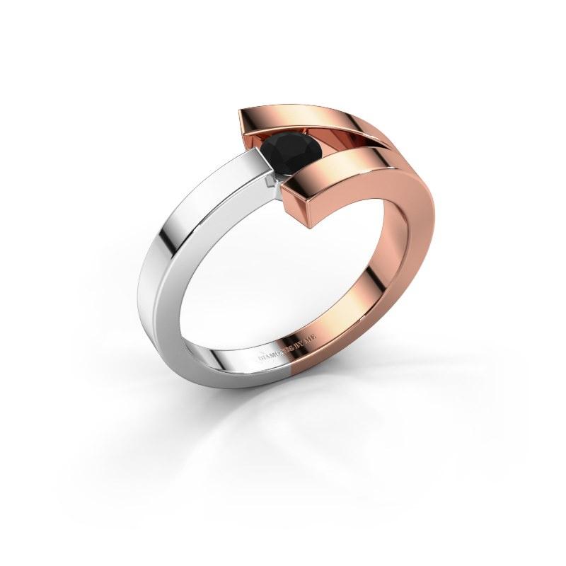Ring Sofia 585 rose gold black diamond 0.24 crt