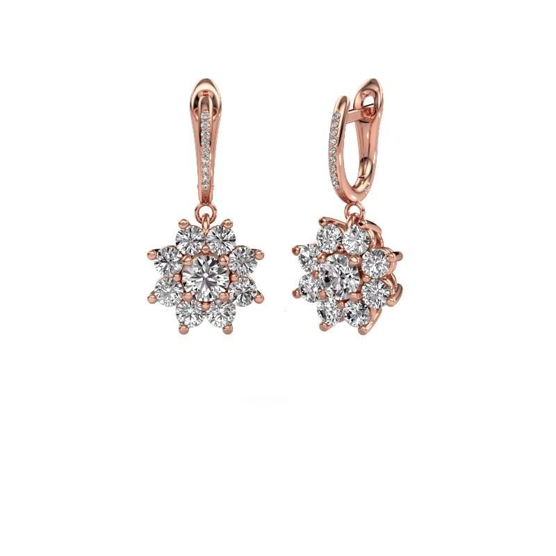 Oorhangers Camille 2 375 rosé goud diamant 2.965 crt