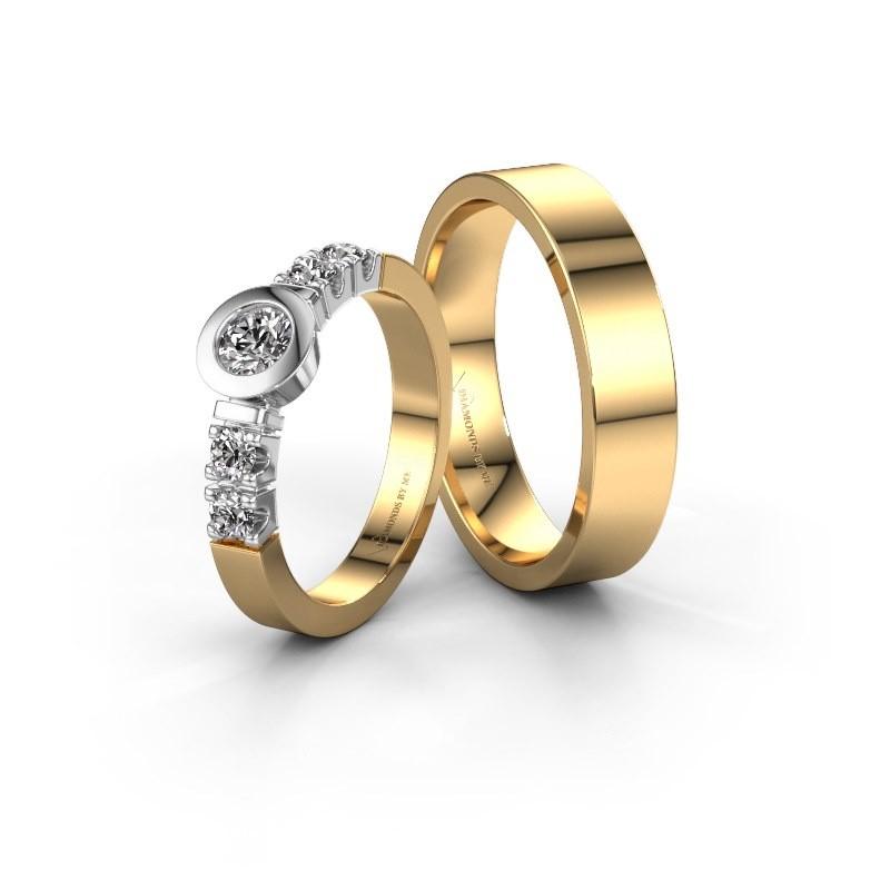 Trouwringen set WHR146LM15AP ±5x1.7 mm 14 karaat goud diamant 0.30 crt