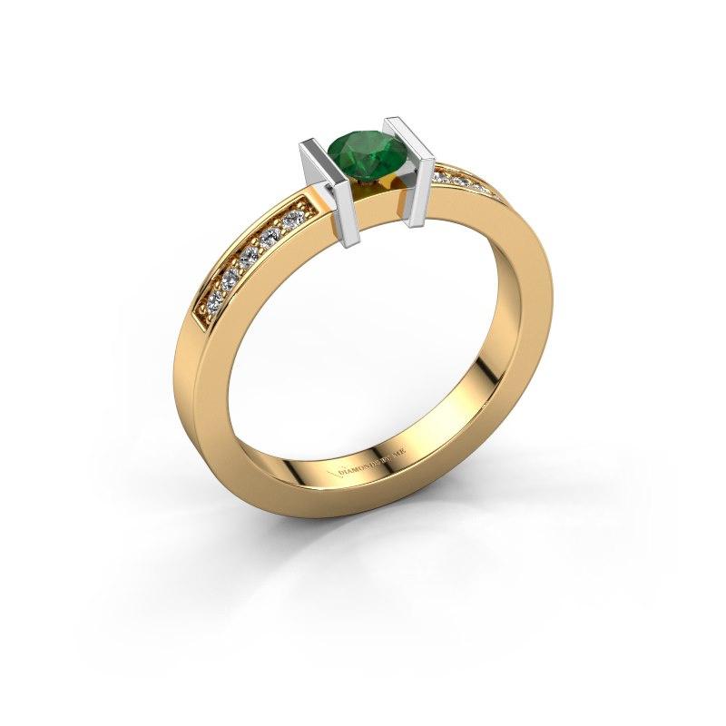 Aanzoeksring Maryam 585 goud smaragd 4 mm