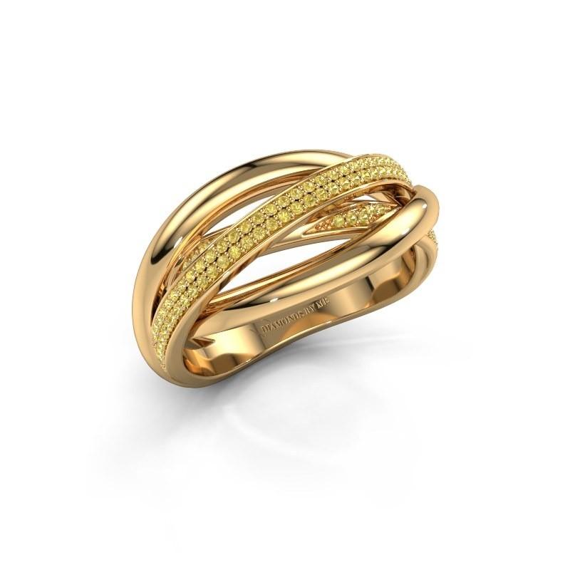 Ring Candice 375 goud gele saffier 0.8 mm