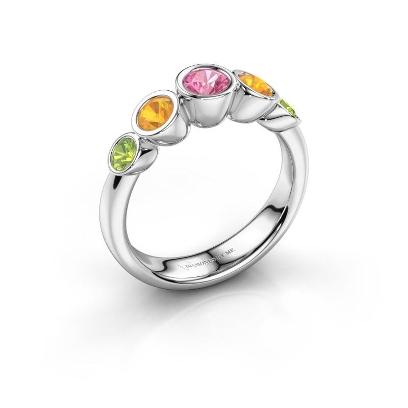 Ring Lizz 925 zilver roze saffier 4 mm
