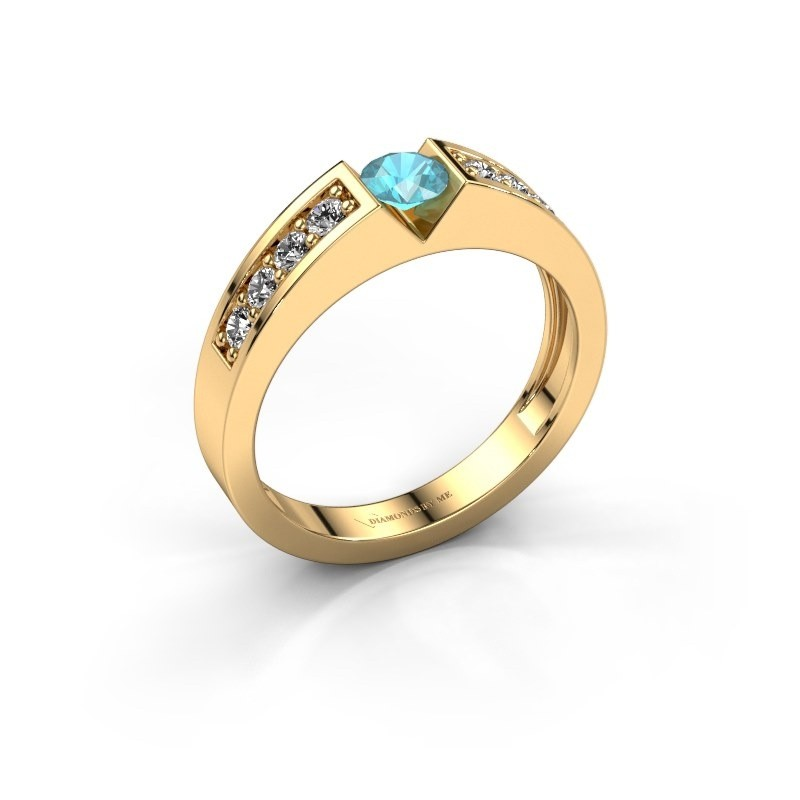 Verlovingsring Lizzy 2 375 goud blauw topaas 4.2 mm