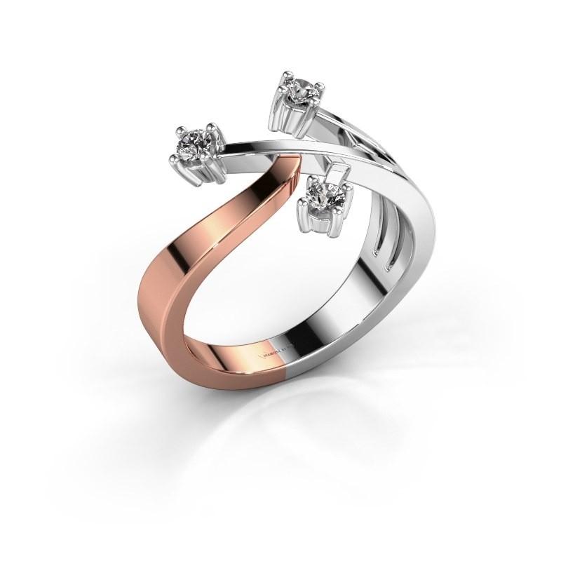 Ring Lillian 585 rosé goud diamant 0.18 crt