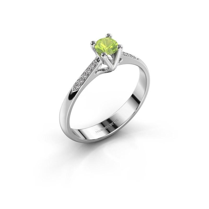 Promise ring Janna 2 585 witgoud peridoot 4 mm