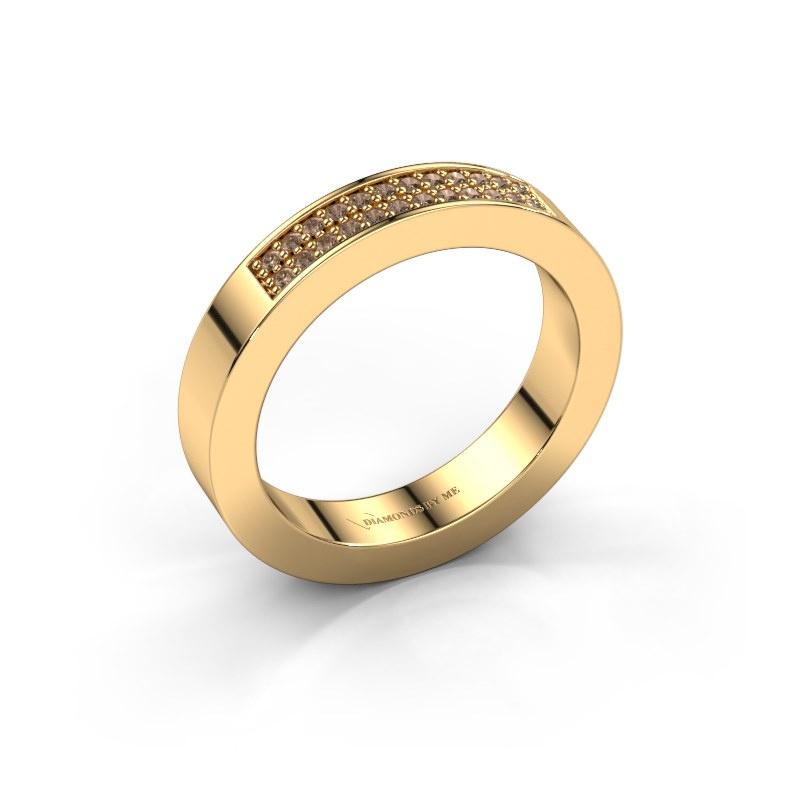 Aanschuifring Catharina 1 585 goud bruine diamant 0.16 crt