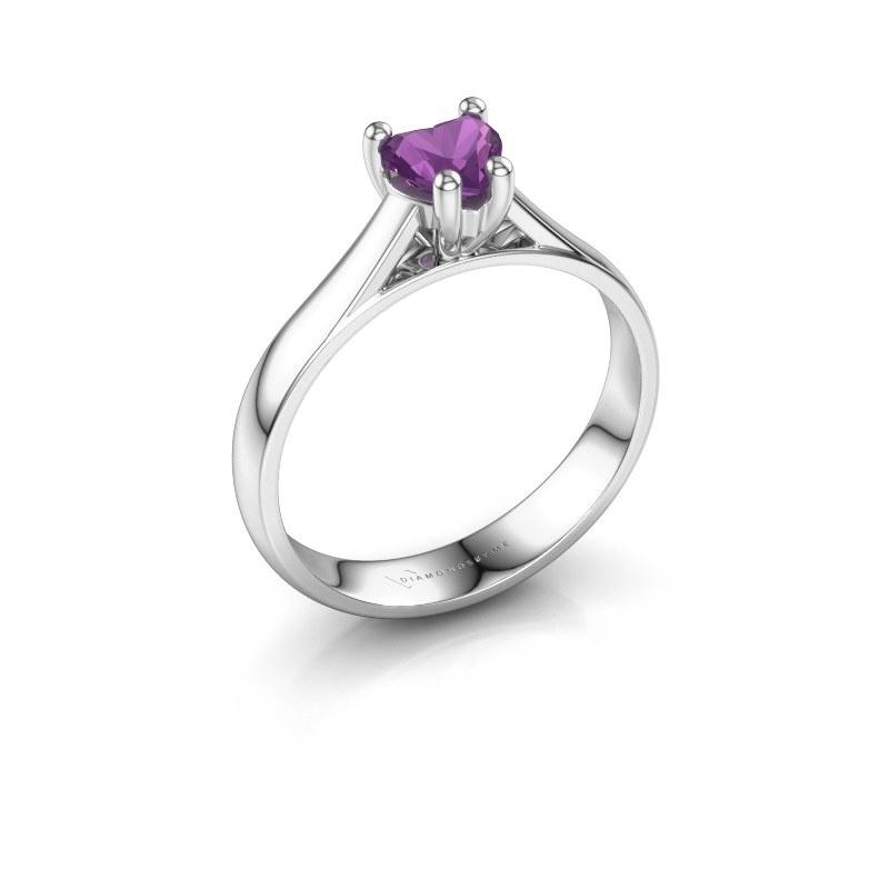 Engagement ring Sam Heart 585 white gold amethyst 5 mm