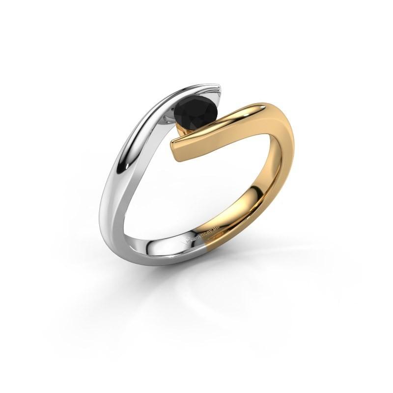 Aanzoeksring Alaina 585 goud zwarte diamant 0.30 crt