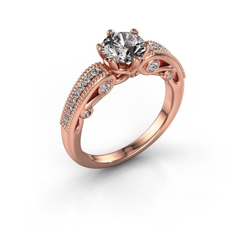 Verlovingsring Christeen 375 rosé goud diamant 1.23 crt