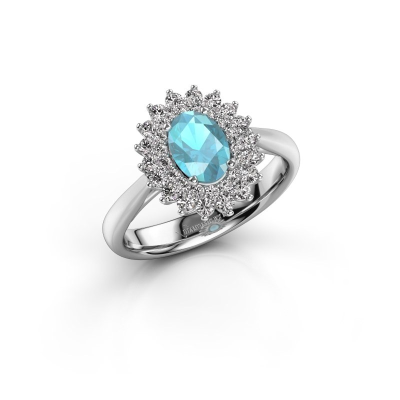 Verlovingsring Alina 1 585 witgoud blauw topaas 7x5 mm