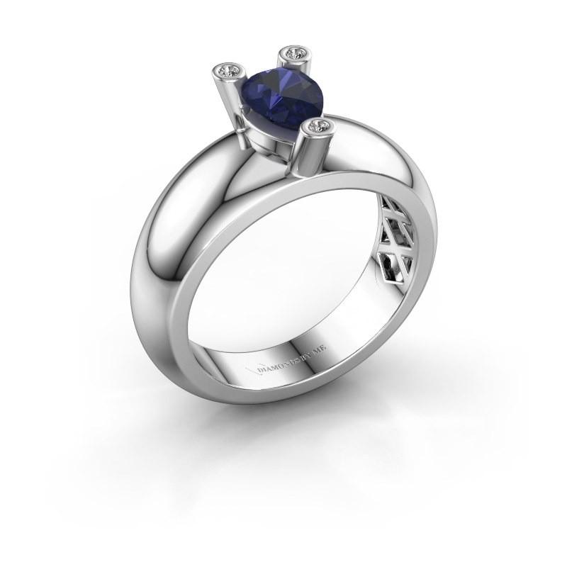 Ring Cornelia Pear 925 Silber Saphir 7x5 mm