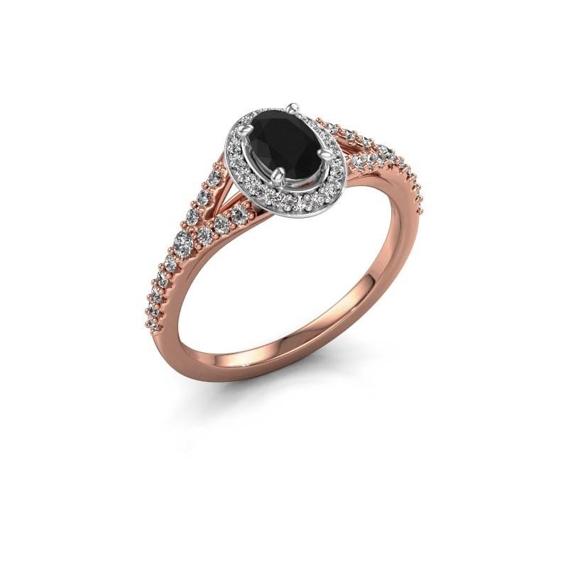 Belofte ring Pamela OVL 585 rosé goud zwarte diamant 1.286 crt