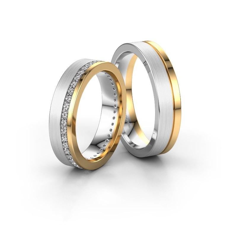 Trouwringen set WH0303LM15BM ±5x2 mm 14 karaat witgoud diamant 0.01 crt