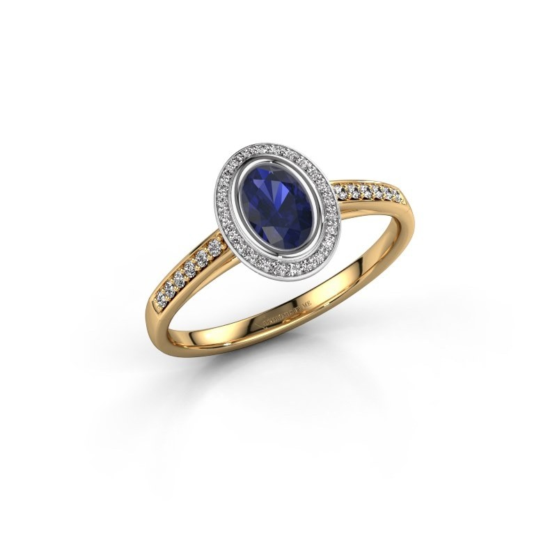 Engagement ring Noud 2 OVL 585 gold sapphire 6x4 mm