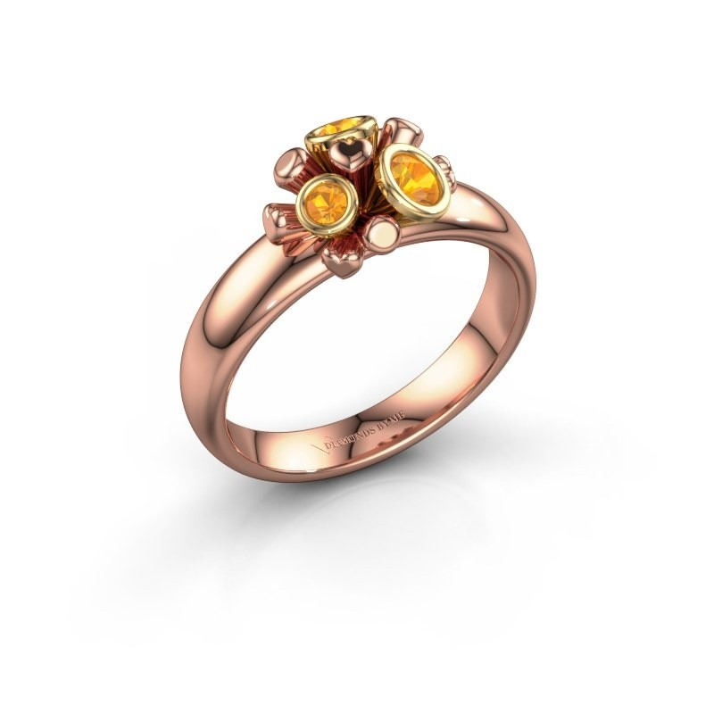 Ring Pameila 585 rosé goud citrien 2 mm