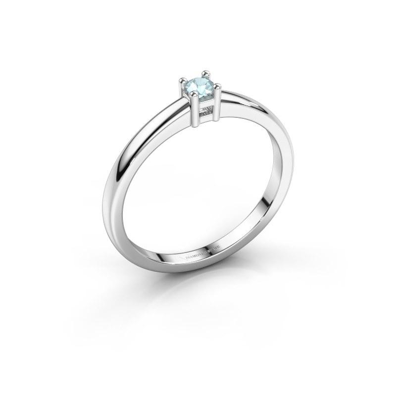 Promise ring Eline 1 585 witgoud aquamarijn 3 mm