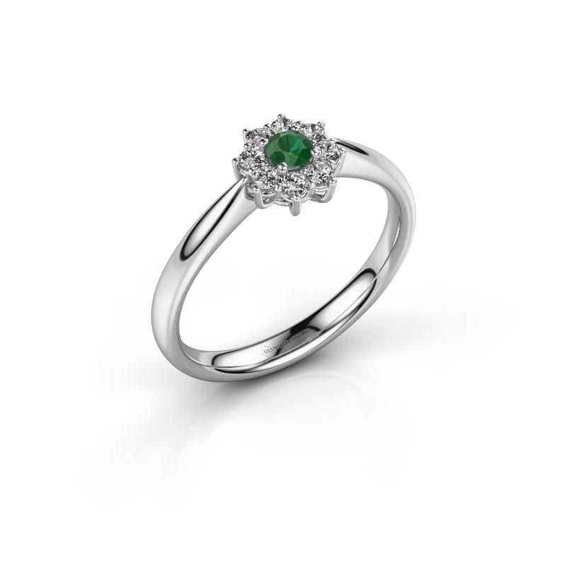 Verlovingsring Carolyn 1 950 platina smaragd 3 mm