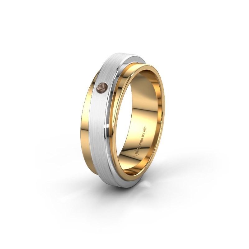 Weddings ring WH2220L16D 585 gold smokey quartz ±0.24x0.09in