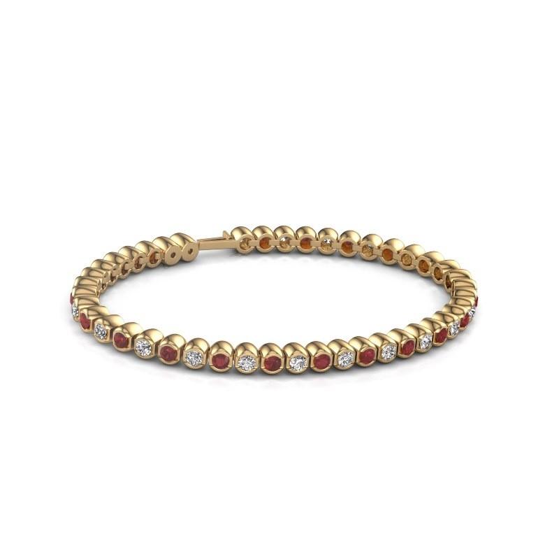 Tennisarmband Asley 375 goud robijn 3 mm