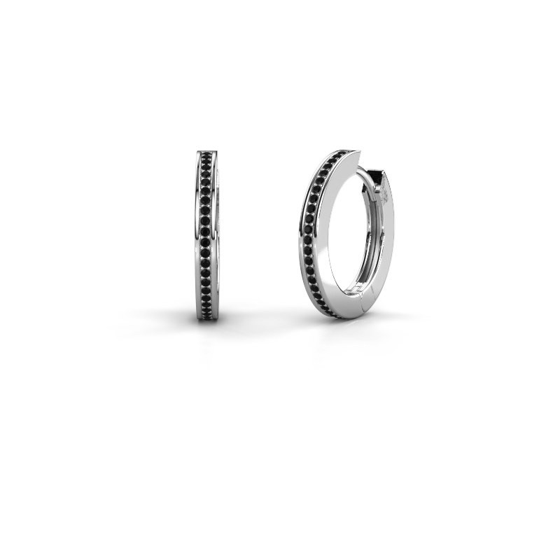 Creolen Renee 4 12 mm 950 platina zwarte diamant 0.456 crt