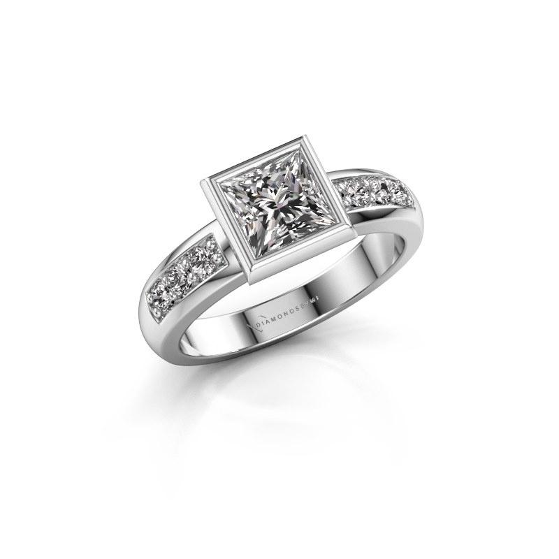 Stacking ring Lieke Square 925 silver diamond 1.18 crt