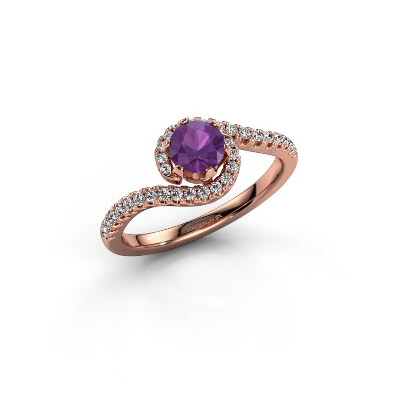 Engagement ring Elli 375 rose gold amethyst 5 mm